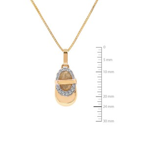 14K Yellow Gold Diamond Bootie Pendant Necklace