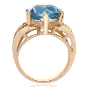 14K Yellow Gold Blue Topaz Hexagon and Round Cut Diamond Ring