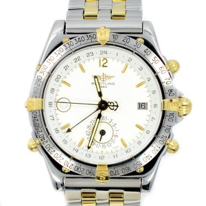 Breitling B15507 Duograph GMT Date Day & Night 18k Yellow Gold & Steel Men's Watch