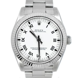 Rolex 177234 Oyster Perpetual 31mm 18K White Gold Fluted Bezel Watch