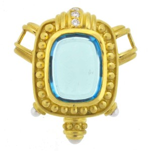 Judith Ripka 18k Yellow Gold Blue Topaz Pearls and Diamonds Pendant
