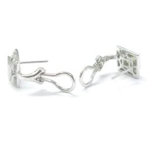 14K White Gold Square Green Peridot Diamond Milgrain Huggie Earrings