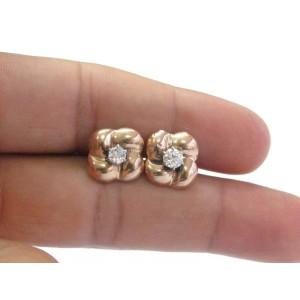 14K Old European Cut Diamond Rose Gold Stud Earrings
