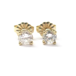 Yellow Gold Round Cut Diamond Stud Earrings