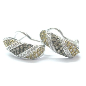 14K Multi Color Brown & White Diamond White Gold Huggie Earrings