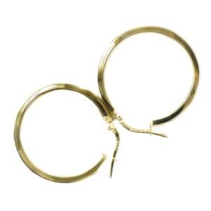 14K Yellow Gold Hoop Greek Key Cut Out Earring