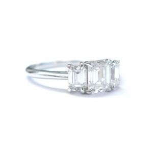 Tiffany & Co Platinum 3-Stone Emerald Cut Diamond Ring