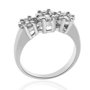 14K White Gold  Round Diamond Cluster Ring
