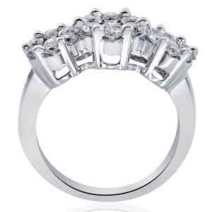 14K White Gold Round Cut Diamond Triple Flower Cluster Ring