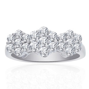 14K White Gold Round Cut Diamond Triple Flower Cluster Ring