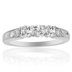 14K White Gold Round Cut Diamond Three Stone Ring