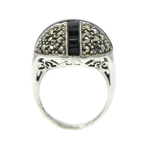 Sterling Silver Round Shape Marcasite Stones With Black Cross Onyx Ring