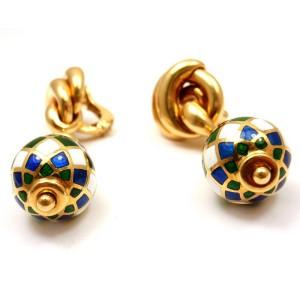 Mauboussin 18K Yellow Gold Enamel Harlequin Earrings