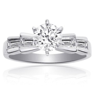 Platinum Round Brilliant Cut Diamond Engagement Ring