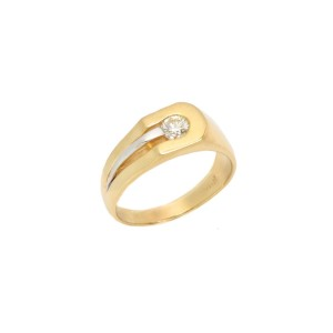 14K Yellow Gold 0.45ct. Round Diamond Men's Ring