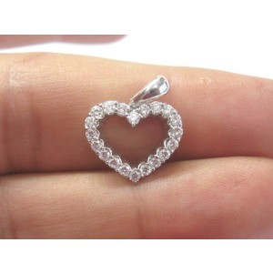 Platinum Round Cut .60ct. Diamond Heart Pendant