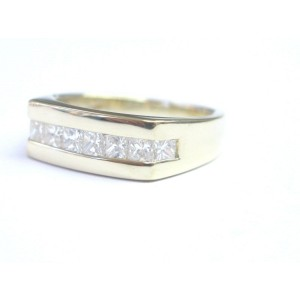14K Yellow Gold Fine Princess Cut Diamond Jewelry 8-Stone Ring