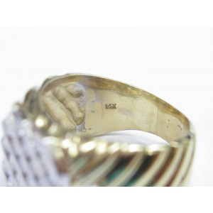 14K Yellow Gold Fine 5-Row Round Cut Diamond Jewelry Ring