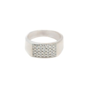 14K White Gold Round Stone Ring