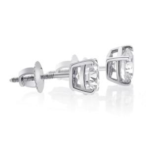 14K White Gold 0.50 ct. Round Brilliant Cut Screwback Basket Stud Earrings