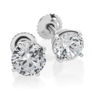 14K White Gold Studs Round Cut Screwback Solitaire Earrings