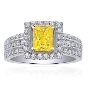 Diamond Engagement  Fancy Intense 14K White Yellow Radiant Cut in Ring