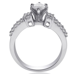 14K White Gold Natural Marquise Cut Diamond Ring