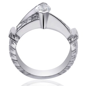 18K White Gold Natural Marquise Shape Diamond Ring