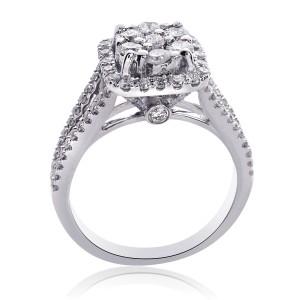 14K White Gold Diamond Cluster Split Shank Ring