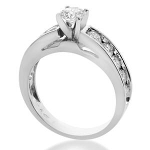 14K White Gold Natural Round Cut Diamond Ring