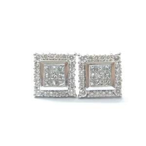 14K White Gold 0.78ct. Diamond Multi Shape Square Stud Earrings