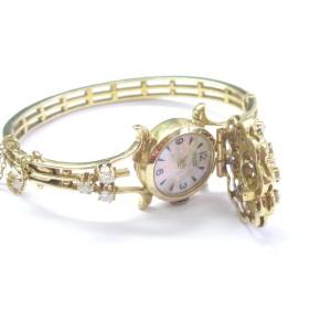 14K Yellow Gold Blue Enamel Diamond Watch Bracelet