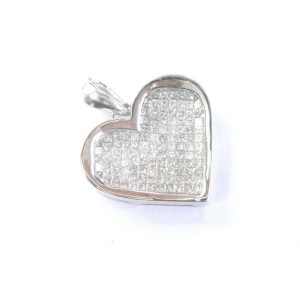 White Gold Princess Cut Diamond Pendant