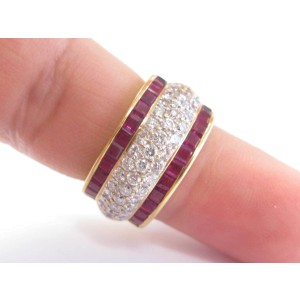 18K Yellow Gold Gem Ruby Diamond Wide Band Ring