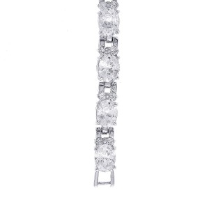 Silver Tone Oval Cubic Zirconia Tennis Bracelet