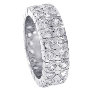 SIlver Cubic Zirconia Double Row Eternity Band