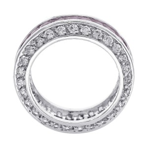 Sterling Silver Pink Princess Cubic Zirconia Eternity Ring