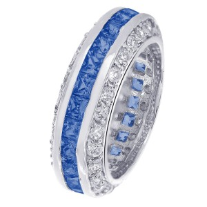 Sterling Silver Round & Blue Cubic Zirconia Eternity Ring