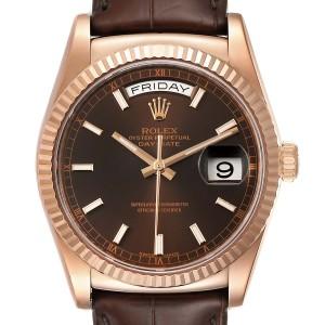 Rolex President Day-Date 18k Everose Gold Chocolate Mens Watch