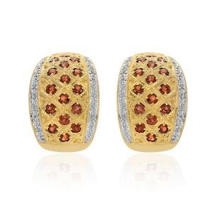 14K Yellow Gold Garnet Diamond Earrings