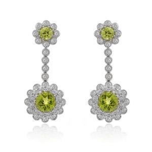 18K White Gold Diamonds Dangle Peridot Earrings