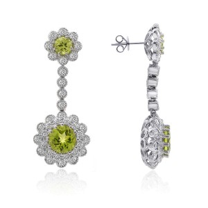 18K White Gold Diamonds Dangle Peridot Earrings
