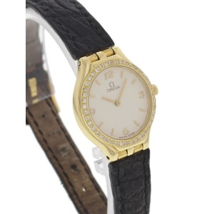 Omega 18K Yellow Gold Diamond Bezel Womens Watch