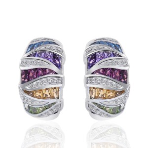 10K White Gold Multi-Gemstone Diamond J-Hoop Earrings