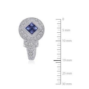 14K White Gold Diamond Blue Sapphire J-Hoop Earrings