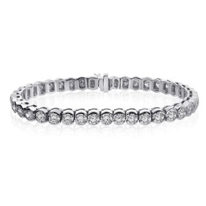 14K White Gold and Diamond Half Bezel Tennis Bracelet