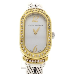 David Yurman Madison Sterling Silver & 18K Yellow Gold Cable With Diamonds Womens Watch