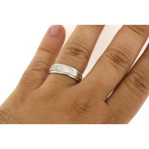 14K White Gold Mens .40 Diamond Wedding Band Ring Comfort Fit Milgrain Ring Size 11