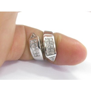 18K White Gold Princess & Trillion Cut Ring Size 4.25