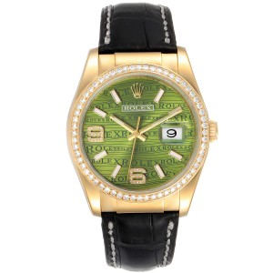 Rolex President 18k Yellow Gold Green Wave Dial Diamond Mens Watch 116188